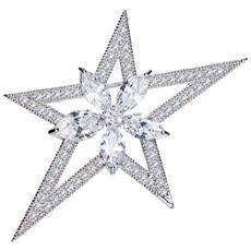 Donna Spilla Stella Cristallo Swarovski Elemento Cubic Zirconia Bianco - Cry E519 J