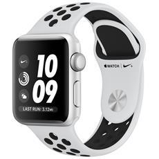 Watch Nike+ GPS con cassa 38 mm in alluminio argento e cinturino Nike Sport platino / nero