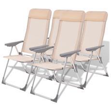 4 Pz Sedie Da Campeggio In Alluminio Crema 56x60x112 Cm