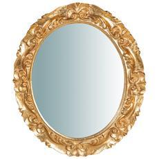 Specchiera Da Parete Verticale / orizzontale In Legno Finitura Foglia Oro Anticato Made In Italy L33xpr2,5xh29 Cm