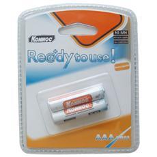 IBT-KRU800-B2 - Blister 2 Batterie Ricaricabili AAA Mini Stilo 700mAh, Pronte all'uso