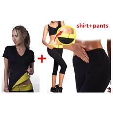 Completo t-shirt e pantaloncino hot shapers sauna dimagrante fitness misura XL