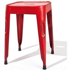 Set 4 Sgabelli Metallo Verniciato Rosso Etnico