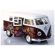 Vw 62 Bulli Classical Bus Bordeaux Modellino Metallo C / molla Richiamo Cm 13 5x5x6 1:32 Per Bambini (3a+)