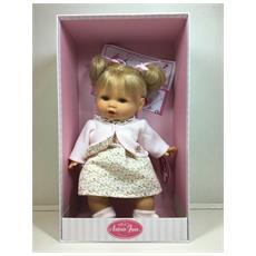 Bambola Da Collezione 37cm Che Piange - Bionda Con Capelli Raccolti - Vestitino Rosa - Scarpe Bianche