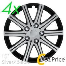 Copricerchi Auto Universali 15 Pollici C-124 Silver Black 31197