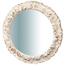 Specchiera Da Parete In Legno Finitura Bianco Anticato Made In Italy L40xpr3xh40 Cm
