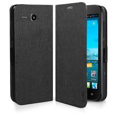 TEBOOKHUY600K SMARTPHONE Custodia a libro in ecopelle per Huawei Ascend Y600, colore nero
