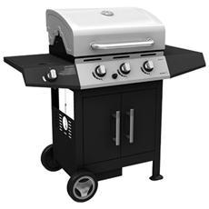 Barbecue a gas con fornello e griglia con bruciatore in acciaio 130x53x105