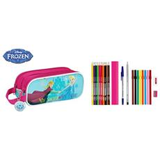Astuccio Portapenne Scuola Frozen 23 Piece Double Pencil Case Nordic Summer 21 Cm