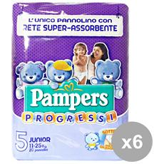 Set 6 Progressi 5 11-25 Kg. x 20 Pezzi Pannolini Linea Bimbobo