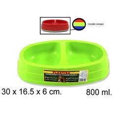 Ciotola 2 Vaschette Plastica 30x16.5x6cm 800 Ml Per Cocker Cane Gatto Animali Domestici Mangiatoia Cibo Acqua Colore Casuale