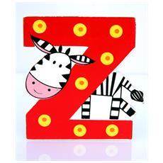 Lettera Z Animali Zebra In Legno Cm 6,5x7x1 Per Cameretta Bambini