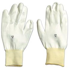 Guanti da Lavoro in Poliuretano Bianco Tg. 10 con Polsino Confezione 12 Paia