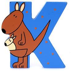 Lettera K Animali Canguro In Legno Cm 6,5x7x1 Per Cameretta Bambini