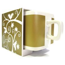Tazza Cube Mug Base Oro Disegno Bianco