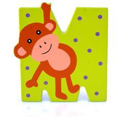 Lettera M Animali Scimmia In Legno Cm 7x7x1 Per Cameretta Bambini