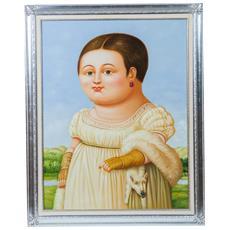 Dipinto A Mano Olio Su Tela Con Cornice In Legno Finitura Foglia Argento 110x3x140 Cm