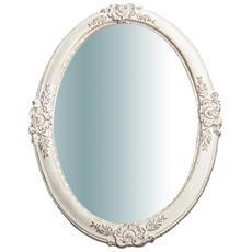 Specchiera Da Parete Verticale / orizzontale In Legno Finitura Bianco Anticato Made In Italy L65xpr3,5xh46 Cm
