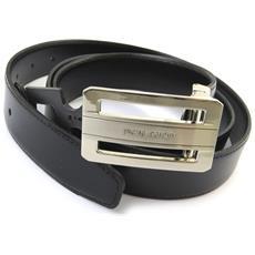 cintura in pelle '' nero - 110 cm 30 mm - [ n5603]