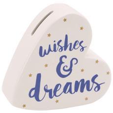 Oh So Pretty Salvadanaio In Ceramica A Forma Di Cuore Wishes And Dreams (taglia Unica) (bianco)