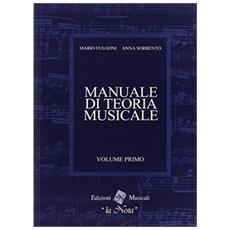 Manuale Di Teoria Musicale Volume Primo Mario Fulgoni E Anna Sorrento Edizioni La Nota