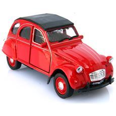 2cv Rossa Chiusa Modellino Metallo C / molla Richiamo - Cm 11,5x4,5x6 1:32 Per Bambini