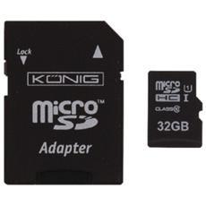 32GB MicroSDHC, MicroSDHC, Nero, UHS-I, Class 10, SD, Plastica
