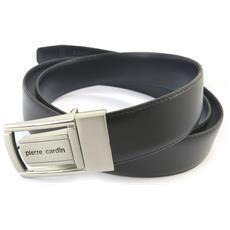 cintura in pelle '' nero / navy - 110 cm 30 mm - [ n5574]
