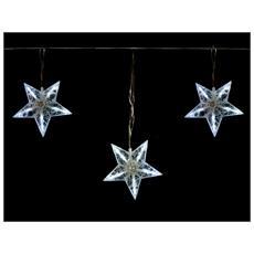 Luci Natale Tenda Luminosa Stelle Diamanti 90 Led Bianco Ghiaccio