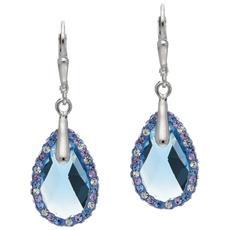 Orecchini Donna Cristallo Swarovski Elements Blu E 925/1000 Argento - Cry R2307 S
