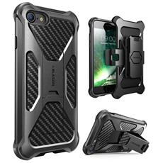Cover Iphone 7 - Massima Protezione Da Cadute E Urti - Custodia Per Aggancio Cintura Girevole Di 360 Gradi Integrata - Cavalletto Estraibile (Nero)