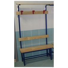Mf9011 panca spogliatoio seduta 1m legno acciaio schienale appendiabiti panchina