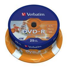 DVD-R 16x Advanced AZO 4.7GB Wide Printable Spindle 25 pz.