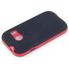 Cover Per Galaxy I9600 S5 Retro Nero Antiscivolo Bordo Rosso Hybrid Alta Qualità