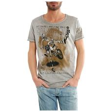 T-shirt Uomo Leggera Stampa Moto Grigio Xl