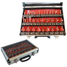 Frese Legno Per Pantografo 6mm Set Kit 35 Pezzi In Valigetta Di Alluminio