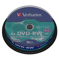 conf. 10 DVD-RW 4X 4.7GB spindle 43552 Verbatim
