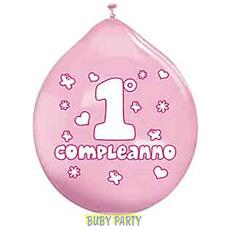 20 Palloncini In Lattice 1° Compleanno Rosa