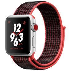 Watch Nike+ GPS + Cellular da 38 mm Cassa in alluminio Argento con cinturino Nike Sport Loop Nero / Crimson