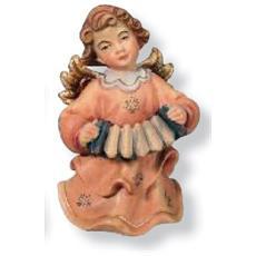 Soprammobile raffigurante Angelo con fisarmonica e fiori in legno europeo Altezza cm 14
