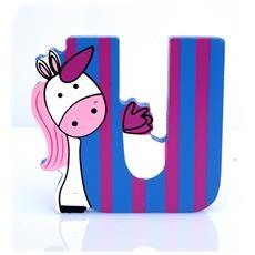 Lettera U Animali Unicorno In Legno Cm 7x7x1 Per Cameretta Bambini