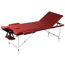 Lettino Pieghevole Da Massaggio Rosso 3 Zone Con Telaio Alluminio