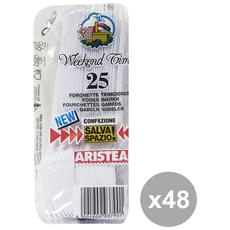 Set 48 Forchette X 25 Pezzi Bianche Posate