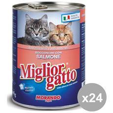 Set 24 405 Gr. Umido Bocconcini Salmone Cibo Per Animali