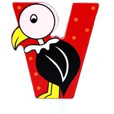 Lettera V Animali Avvoltoio In Legno Cm 6x7x1 Per Cameretta Bambini