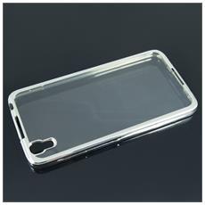 Cover Glossy Electro In Silicone Con Bordino Argento / Silver Per Huawei P10 Lite