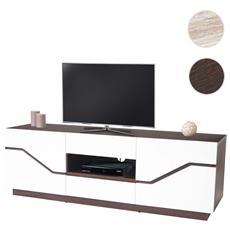 Mobile Porta Tv Tavolino Salotto Torquay T727 2 Cassetti Mdf 42x149x49cm Legno Scuro E Bianco