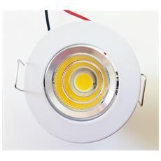 Mini Faretto Cob A Led Da Incasso 3w Ny864 Luce Caldo Corpo Bianco Argento Con Alette Cartongesso Luce Lampada