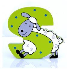Lettera S Animali Pecora In Legno Cm 7x7x1 Per Cameretta Bambini